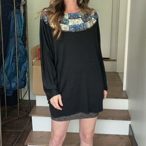 Vintage 80s oversized top with sequin collar